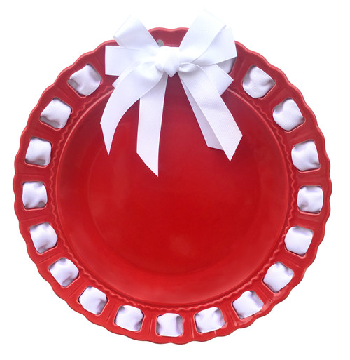 """12"""" Round Red Ceramic Ribbon Plate with White Ribbon - IMAGE 1"""