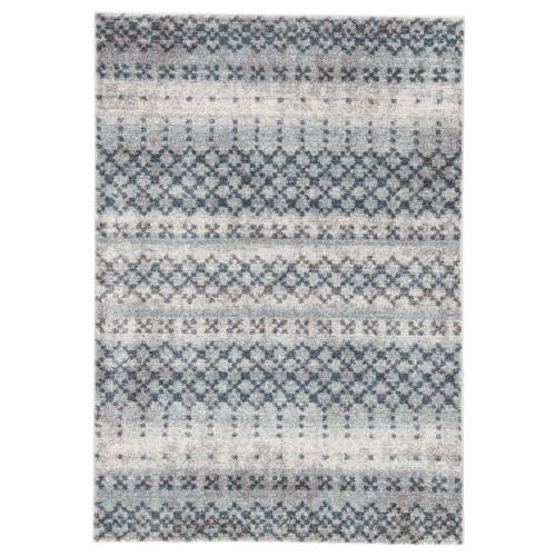 7.5' x 9.5' Blue and Beige Transitional Rectangular Area Throw Rug - IMAGE 1