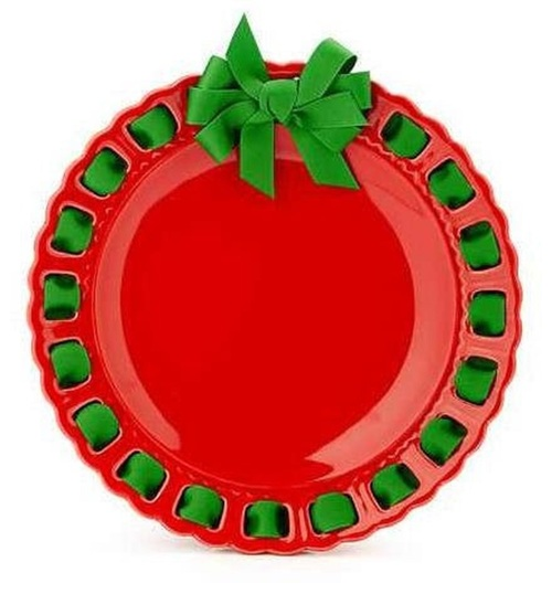 """12"""" Round Red Ceramic Ribbon Plate with Emerald Green Ribbon - IMAGE 1"""