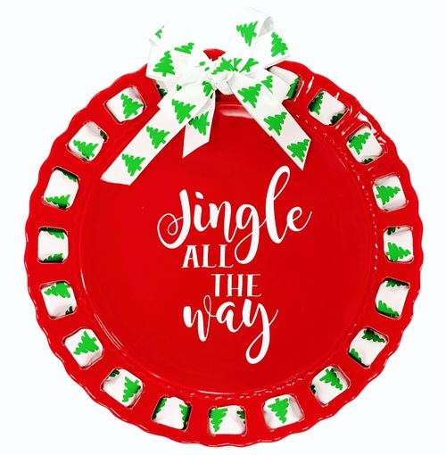 """12"""" Round Jingle All the Way Red Ribbon Plate with Christmas Tree Ribbon - IMAGE 1"""