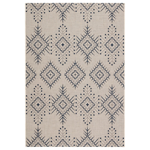 2' x 3.5' Gray and Blue Geometric Outdoor Rectangular Area Throw Rug - IMAGE 1