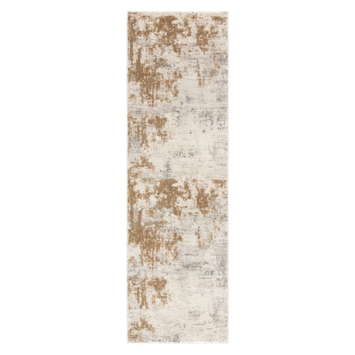 2.5' x 8' Ivory and Gold Rectangular Area Throw Rug Runner - IMAGE 1