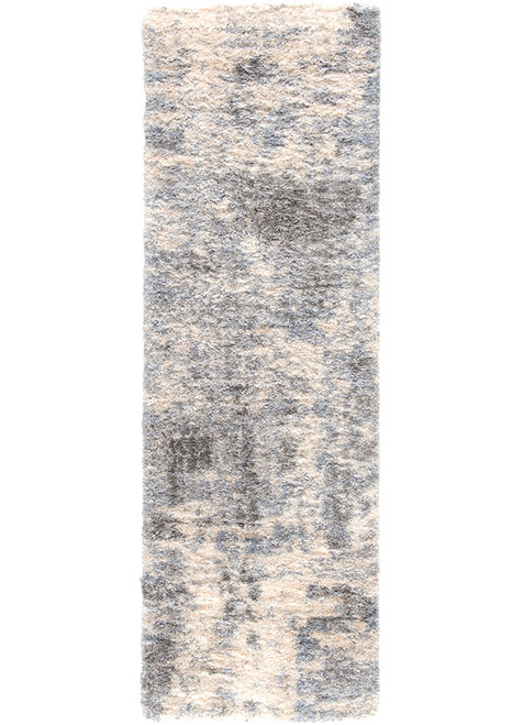 2.5' x 8' Gray and Beige Contemporary Rectangular Area Throw Rug Runner - IMAGE 1