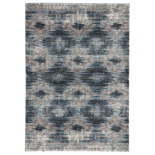 7.5' x 9.5' Blue and Brown Contemporary Rectangular Area Throw Rug - IMAGE 1