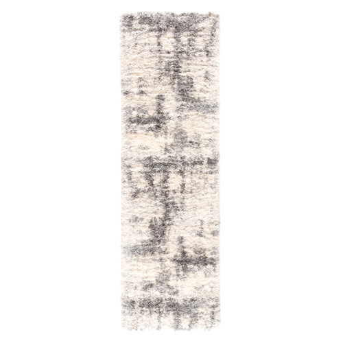 2.5' x 8' Ivory and Gray Distressed Rectangular Area Throw Rug Runner - IMAGE 1