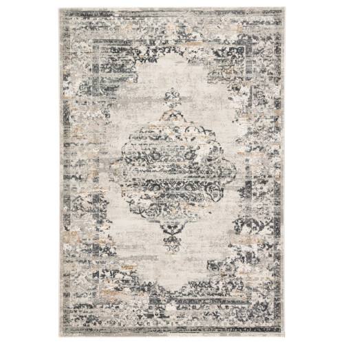 2' x 3' Gray and Ivory Distressed Finish Rectangular Area Throw Rug - IMAGE 1