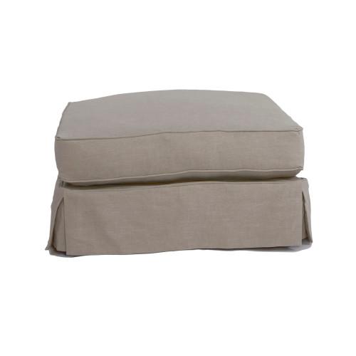 "33"" Light Gray Square Cushion Ottoman Slipcover - IMAGE 1"