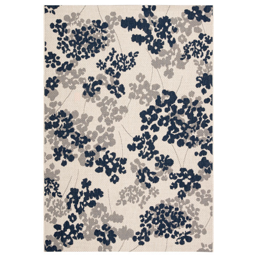 4' x 5.5' Gray and Blue Floral Outdoor Rectangular Area Throw Rug - IMAGE 1