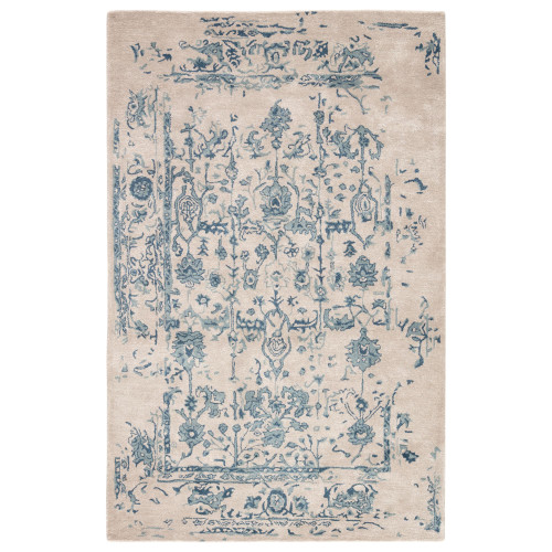 2' x 3' Gray and Blue Transitional Hand Tufted Rectangular Area Throw Rug - IMAGE 1