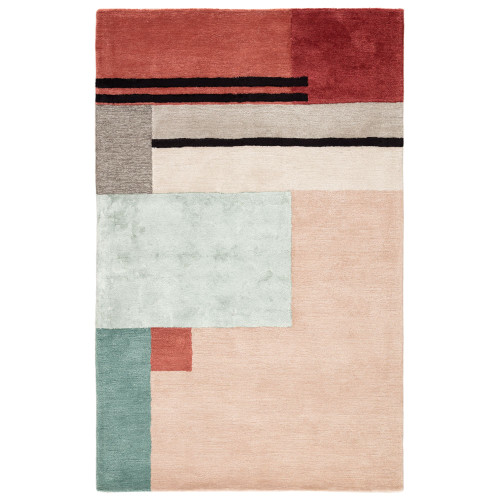 5' x 8' Pink and Red Contemporary Hand Tufted Rectangular Area Throw Rug - IMAGE 1