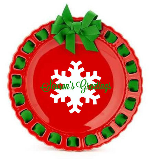 """12"""" Round Red Ceramic Christmas Ribbon Plate with Emerald Green Ribbon - IMAGE 1"""