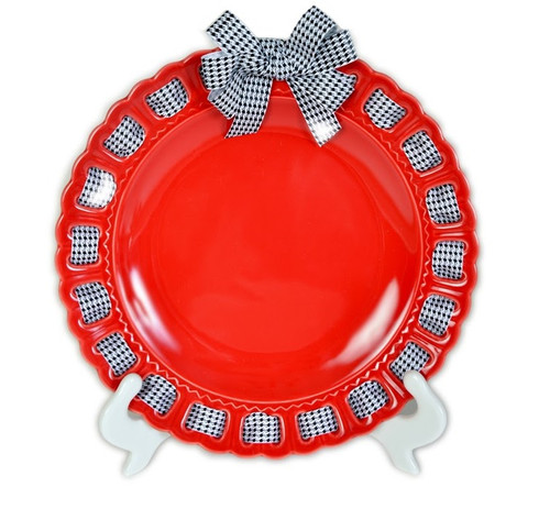 """12"""" Round Red Ceramic Ribbon Plate with Black and White Houndstooth Ribbon - IMAGE 1"""