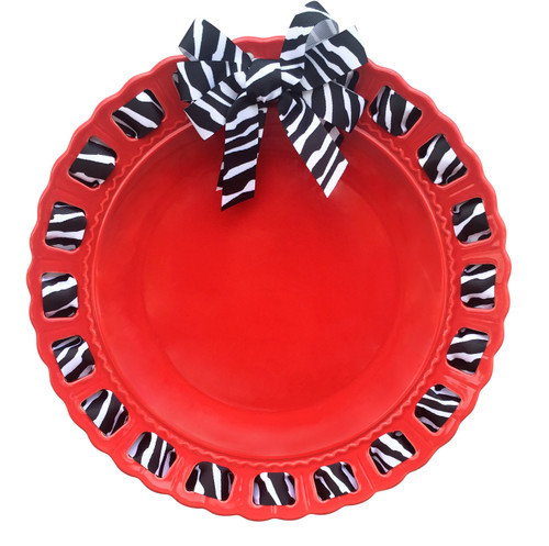 """12"""" Round Red Ribbon Plate with Black and White Zebra Print Ribbon - IMAGE 1"""