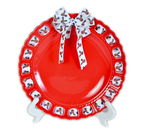 """12"""" Round Red Ceramic Ribbon Plate with White Reindeer Ribbon - IMAGE 1"""