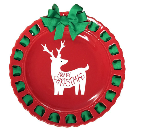 """12"""" Round Red Christmas Ribbon Plate with Emerald Green Ribbon - IMAGE 1"""