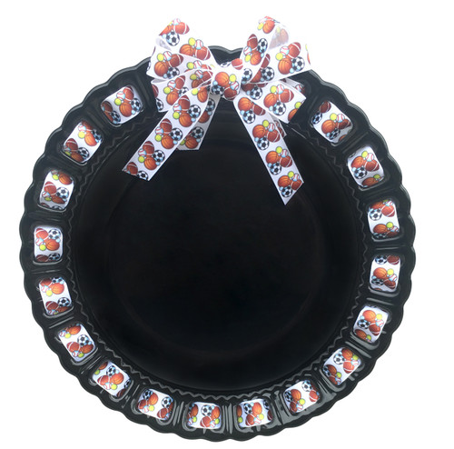 """12"""" Round Black Ceramic Ribbon Plate with All Sports Ribbon - IMAGE 1"""