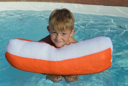 "24"" Bright Orange Mini Size Float Assistant Swimming Pool Pillow - IMAGE 1"