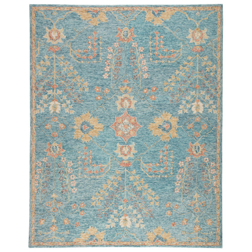 8' x 10' Teal Blue and Orange Transitional Hand Tufted Rectangular Area Throw Rug - IMAGE 1