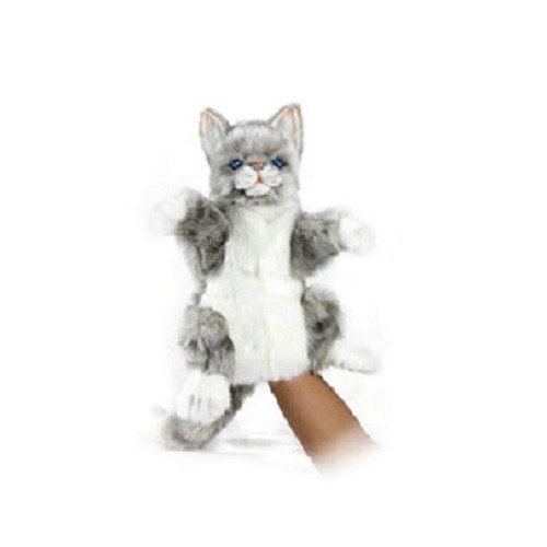 "Set of 3 Handcrafted Grey Kitty Hand Puppet Stuffed Animals 11.75"" - IMAGE 1"