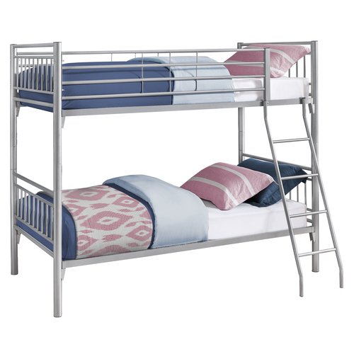 """78.5"""" Silver Contemporary Twin Size Detachable Bunk Bed - IMAGE 1"""