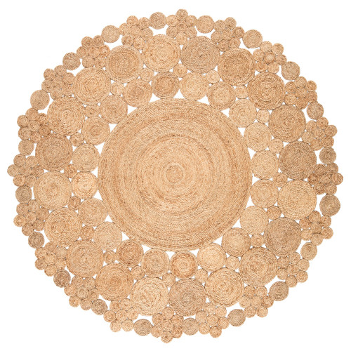 8' x 8' Beige Dot Hand Woven Round Area Throw Rug - IMAGE 1