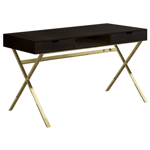 """47.25"""" Coffee Brown and Gold Contemporary Rectangular Computer Desk - IMAGE 1"""