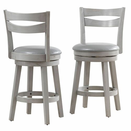 "Set of 2 Gray Solid Swivel Counter Stools 39.50"" - IMAGE 1"