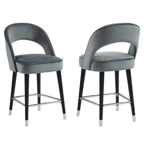 "Set of 2 Gray and Black Contemporary Counter Stools 39.50"" - IMAGE 1"