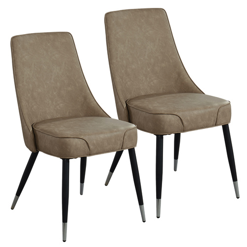 "Set of 2 Taupe Brown and Black Vintage Style Side Chairs 35"" - IMAGE 1"