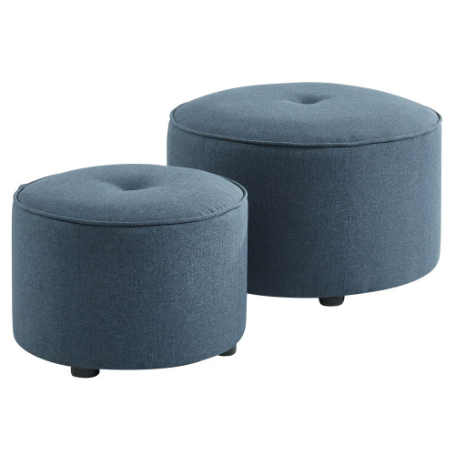"Set of 2 Steel Blue Solid Round Upholstered Ottomans 22.75"" - IMAGE 1"