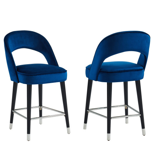 "Set of 2 Blue and Black Contemporary Counter Stools 39.50"" - IMAGE 1"