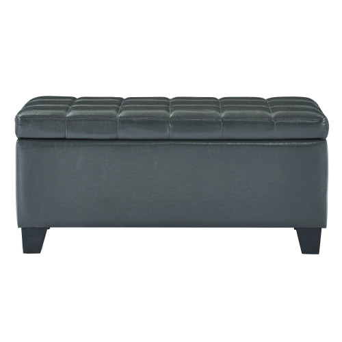 "35.5"" Charcoal Gray Solid Rectangular Storage Ottoman - IMAGE 1"