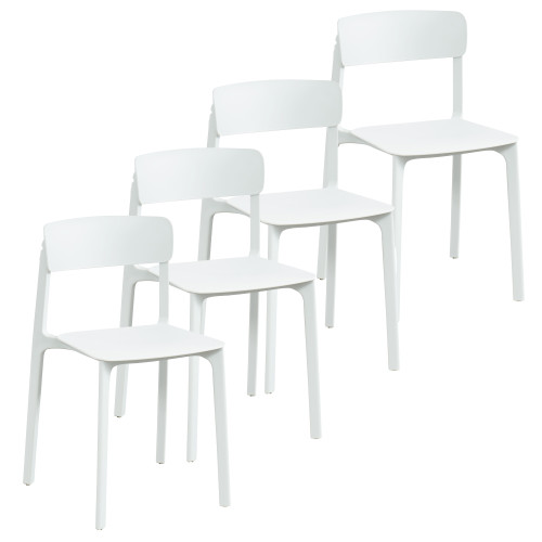"""Set of 4 White Contemporary Indoor/outdoor Side Chairs 31"""" - IMAGE 1"""