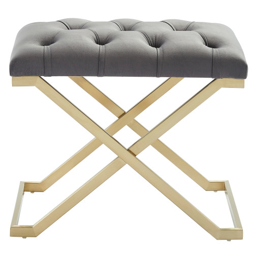 """22"""" Gray and Gold Contemporary Single Bench with Button Tufting - IMAGE 1"""