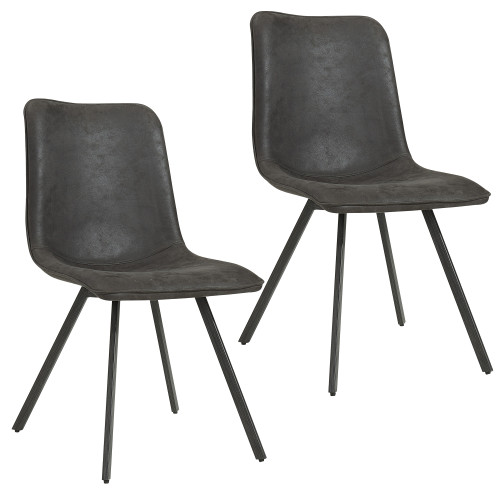 """Set of 2 Gray Vintage Style Side Chairs with Piping Detail 33.75"""" - IMAGE 1"""