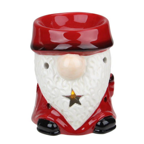4.75 Red Ceramic Christmas Star Gnome Tealight Candle Holder - IMAGE 1