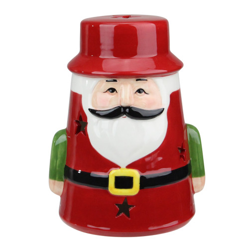 7.25 Red Ceramic Santa Christmas Gnome Tealight Candle Holder - IMAGE 1