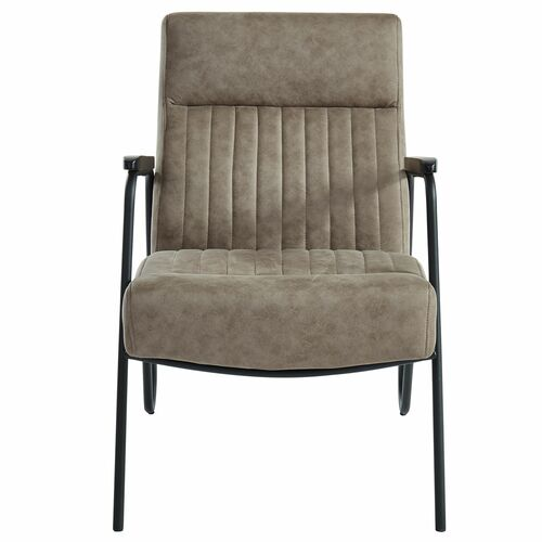 "34.75"" Brown and Black Transitional Tufted Accent Chair - IMAGE 1"
