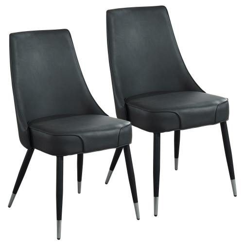 """Set of 2 Black and Silver Vintage Style Side Chairs 35"""" - IMAGE 1"""