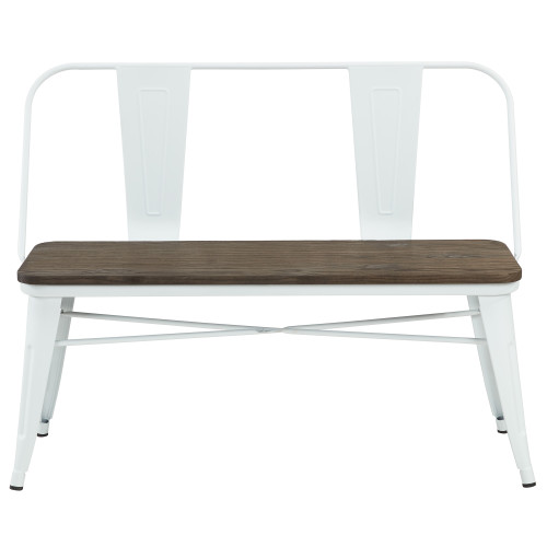"""43.5"""" White and Brown Distressed Rectangular Industrial Bench - IMAGE 1"""
