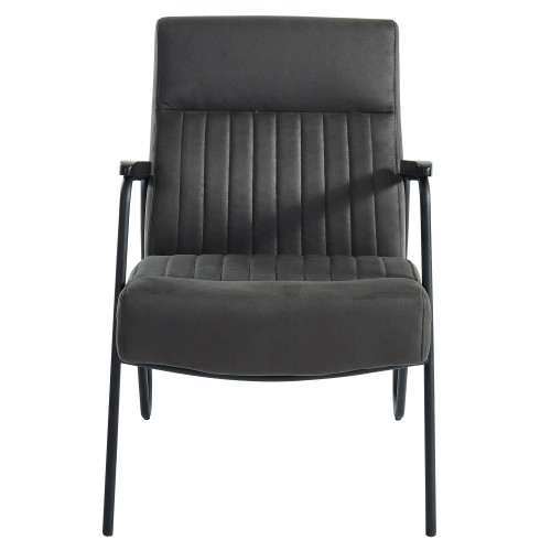 "34.75"" Gray and Black Transitional Tufted Accent Chair - IMAGE 1"