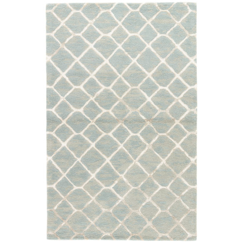 5' x 8' Gray and Blue Totten Rectangular Hand Tufted Area Throw Rug - IMAGE 1