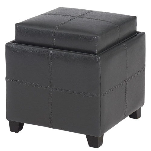 "19"" Gray Solid Storage Ottoman with Reversible Tray Lid - IMAGE 1"
