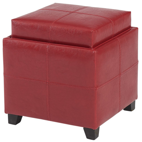 "19"" Red Solid Storage Ottoman with Reversible Tray Lid - IMAGE 1"