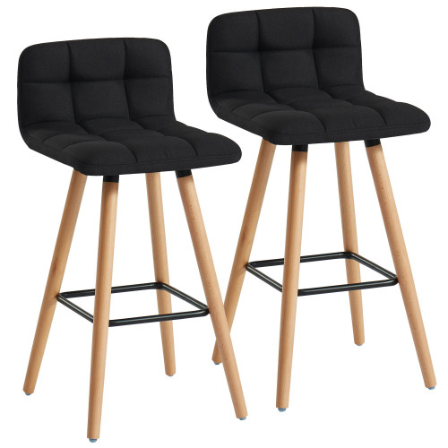 """Set of 2 Black and Beige Transitional Counter Stools 26"""" - IMAGE 1"""
