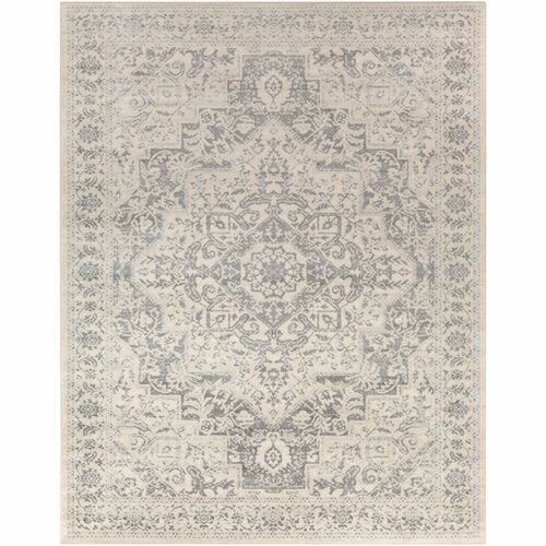 7.8' x 10.25' Floral Beige and Gray Rectangular Area Throw Rug - IMAGE 1