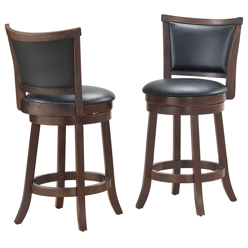 "Set of 2 Black and Brown Solid Swivel Counter Stools 39"" - IMAGE 1"