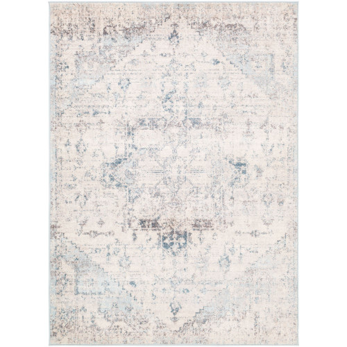 7.8' x 10.25' Beige and Sky Blue Distressed Finish Rectangular Area Throw Rug - IMAGE 1