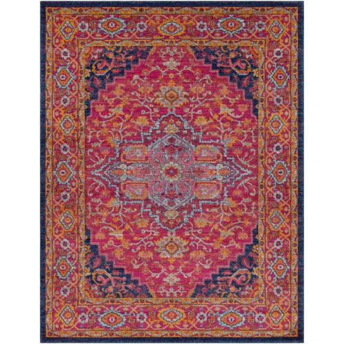 "9'3"" x 12'6"" Oriental Floral Design Orange and Blue Rectangular Area Throw Rug - IMAGE 1"