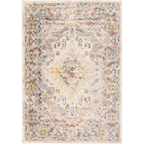 7.8' x 10.25' Beige and Yellow Distressed Finish Rectangular Area Throw Rug - IMAGE 1